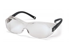 Pyramex Clear H2X Anti-Fog Lens with Black Temple - Fits over Rx Glasses - Box of 12