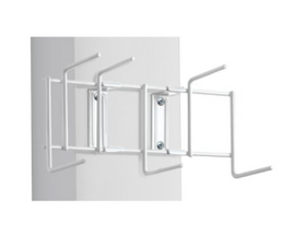 "Rackem Safety White 10"" Utility / Sanitation Rack - (6) 2"" Hooks"
