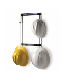 "Rackem Safety Hard Hat, Coat, Purse & Fall Protection Rack, Mounts with foam tape or has holes for screws 16.75""H x 11""W x 2.25""D"