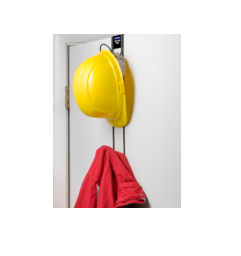 "Rackem Safety ""Over-the-Door"" 2-Hook, Hard Hat, Coat, Purse Rack,  Comply with ANSI Z89.1-1986 Recommendations.  Dimensions: 18.75""H x 3""W x 6.5""D"