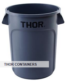 "Trust® Thor® Round Container, 55 gal, 33 1/16"" x 26 3/8"", Gray"