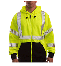 Tingley Hi-Vis Zip Up Hoodie - Fluorescent Lime