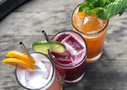 Three colourful mocktails, a great alternative to alcoholic cocktails