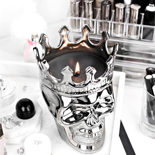 Monte Cristo Collection Maximilien Skull Candle Silver