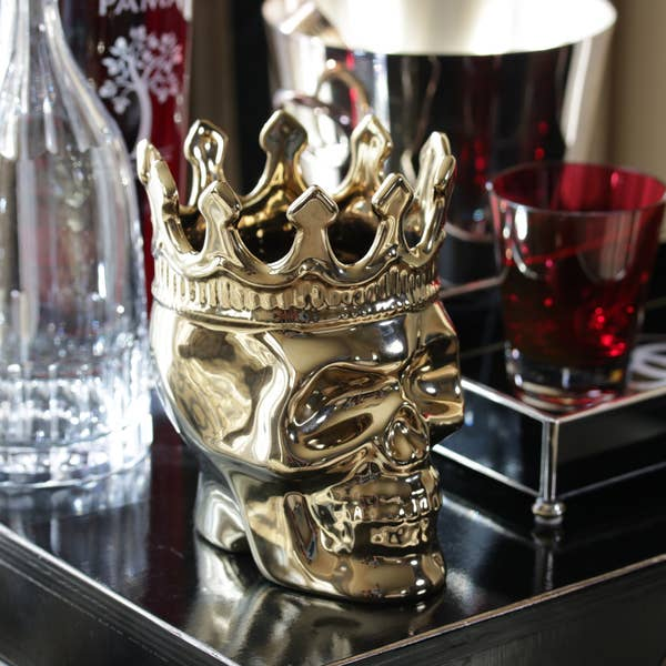 Monte Cristo Collection Bonaparte Skull Candle Gold