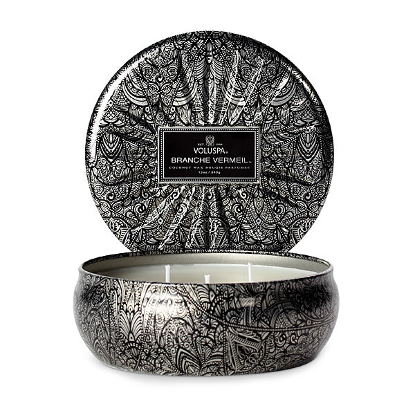 3 Wick Tin Candle Branche Vermeil - BodyFactory