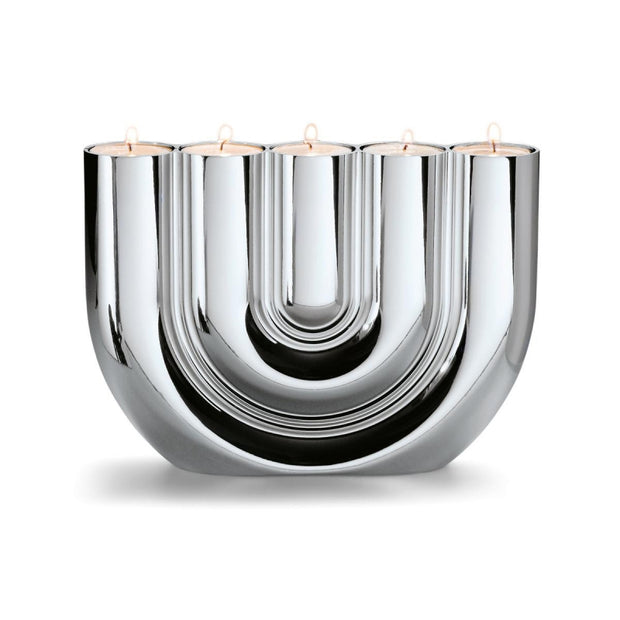 Double U Tealight Holder Chrome - BodyFactory
