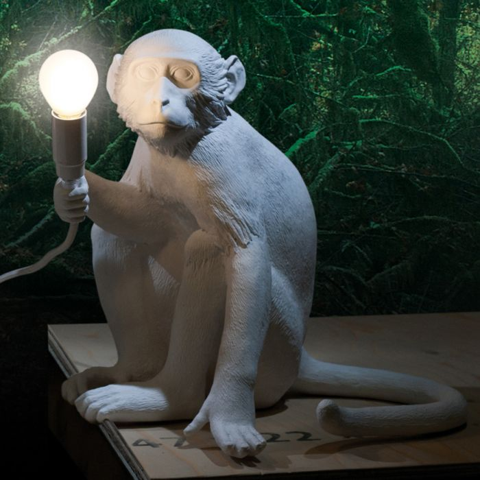 Monkey Lamp Sitting 01 White - BodyFactory