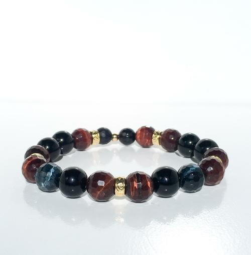 "14 Kt Gold/Polished Onyx/Tiger 7"" Bracelet - BodyFactory"