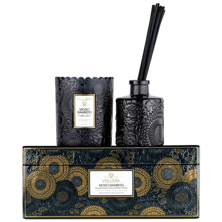 Scalloped Edge Candle & Reed Diffuser Gift Set Moso Bamboo