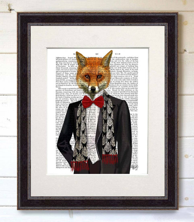 Fox with Red Bowtie Art Print with Black Frame - BodyFactory