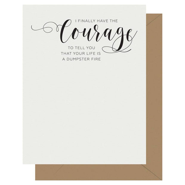 Crass Calligraphy Letterpress Greeting Card Courage - BodyFactory