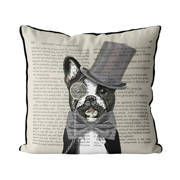 Pillow Formal Hound and Hat Monsieur Bulldog - BodyFactory
