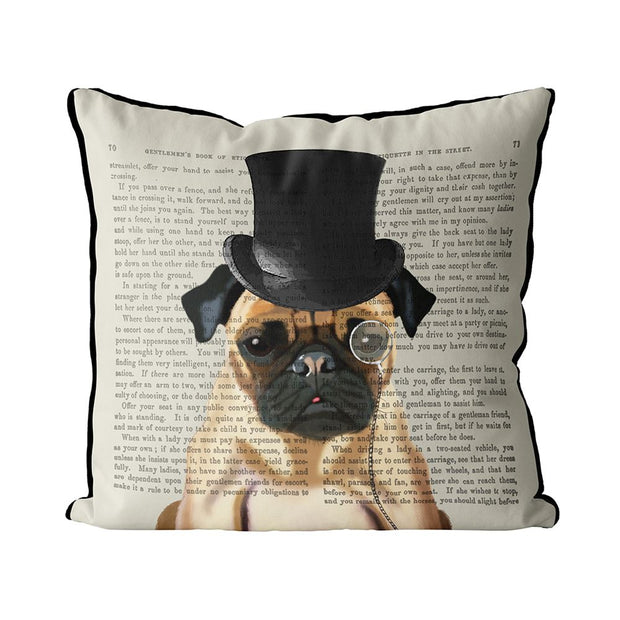 Pillow Formal Hound and Hat Hound Pug - BodyFactory