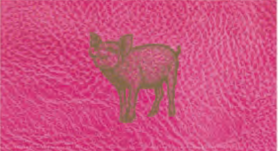 Embossed Matches 4 In Gold Pink Pig