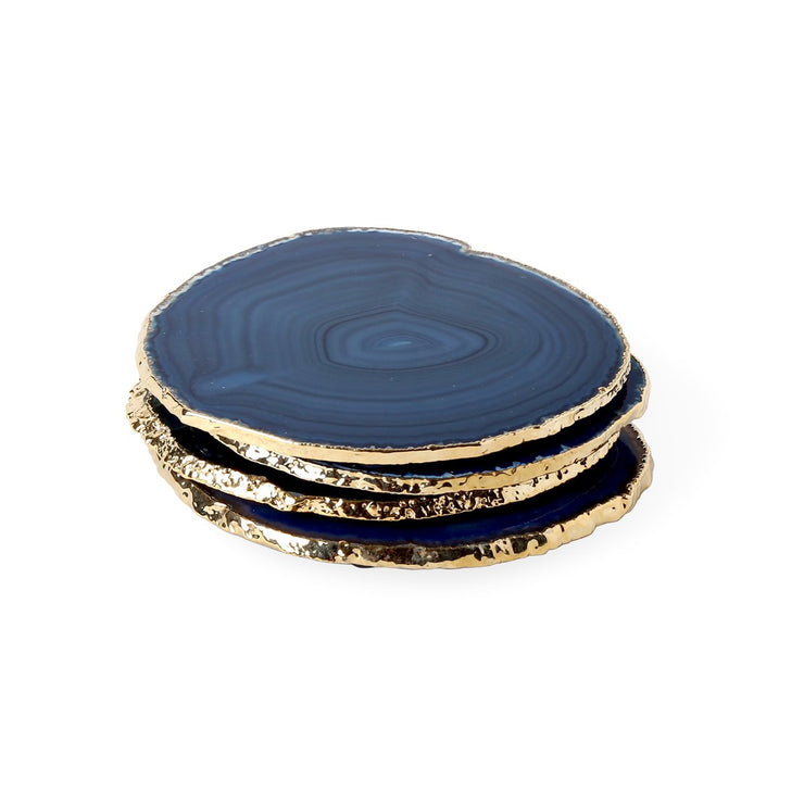 Boxed Agate Coasters Blue and Gold