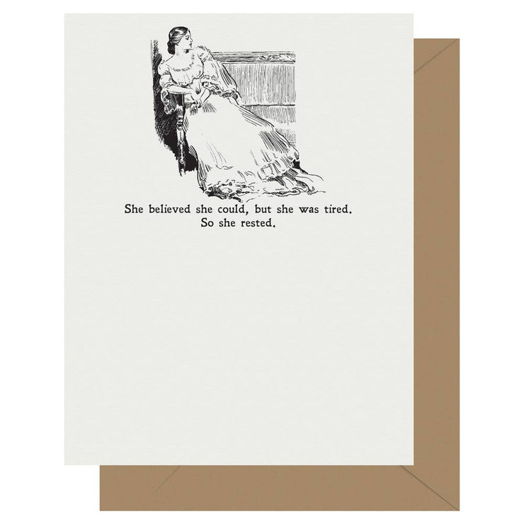 Gibson Girl She Rested Letterpress Greeting Card - BodyFactory