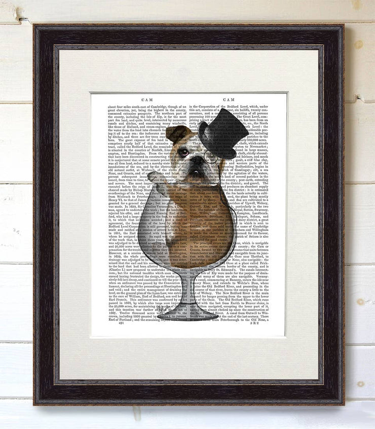 English Bulldog in Brandy Glass Art Print with Black Frame - BodyFactory