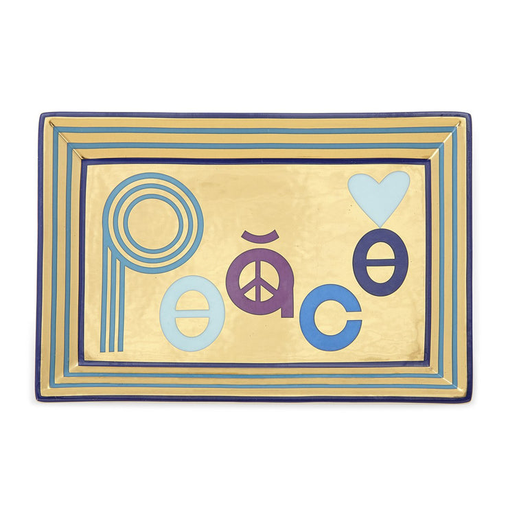 Rectangular Tray Peace Blue and Gold
