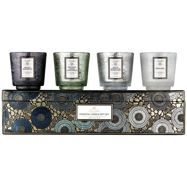 Pedestal Candle Gift Set Cool Tones