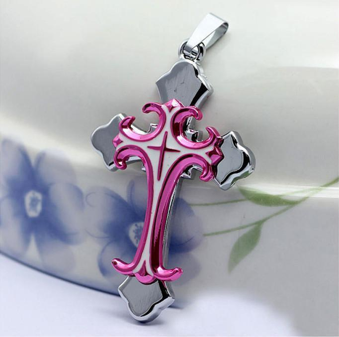 Beautiful Cancer Awareness Stainless Steel Cross Necklace
