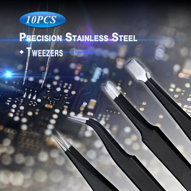 10pcs Precision Stainless Steel Tweezers - planetshopper.net