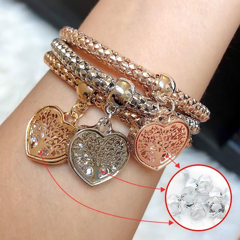 3 Sets of Tree of Life Heart Edition Charm Bracelets with Real Austrian Crystals