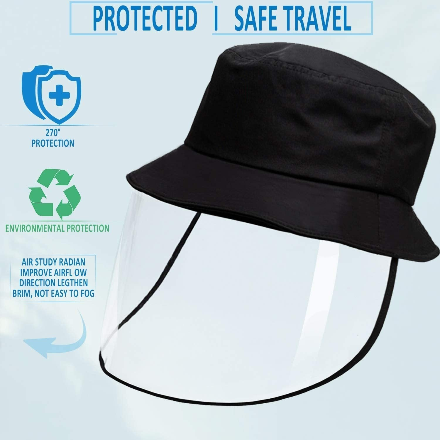 Reusable Face Shield Hat: Wind-proof, dust-proof, saliva-proof. - planetshopper.net