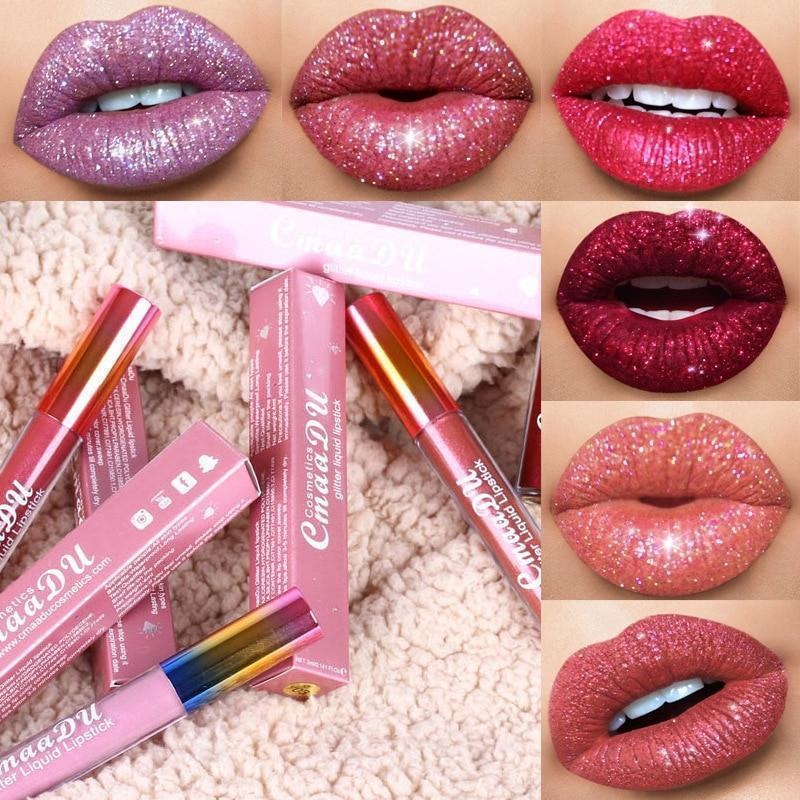 Glitter Waterproof Long Lasting Lip Gloss(6 colors set)