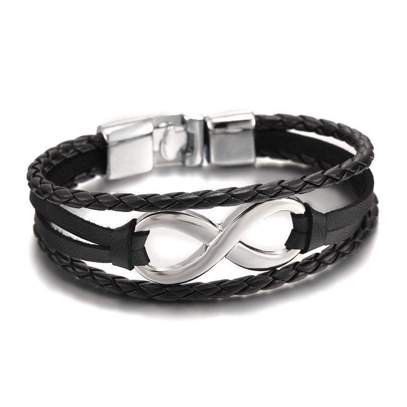 Infinity Leather Chain Bangle Bracelet [6 Variations] - planetshopper.net