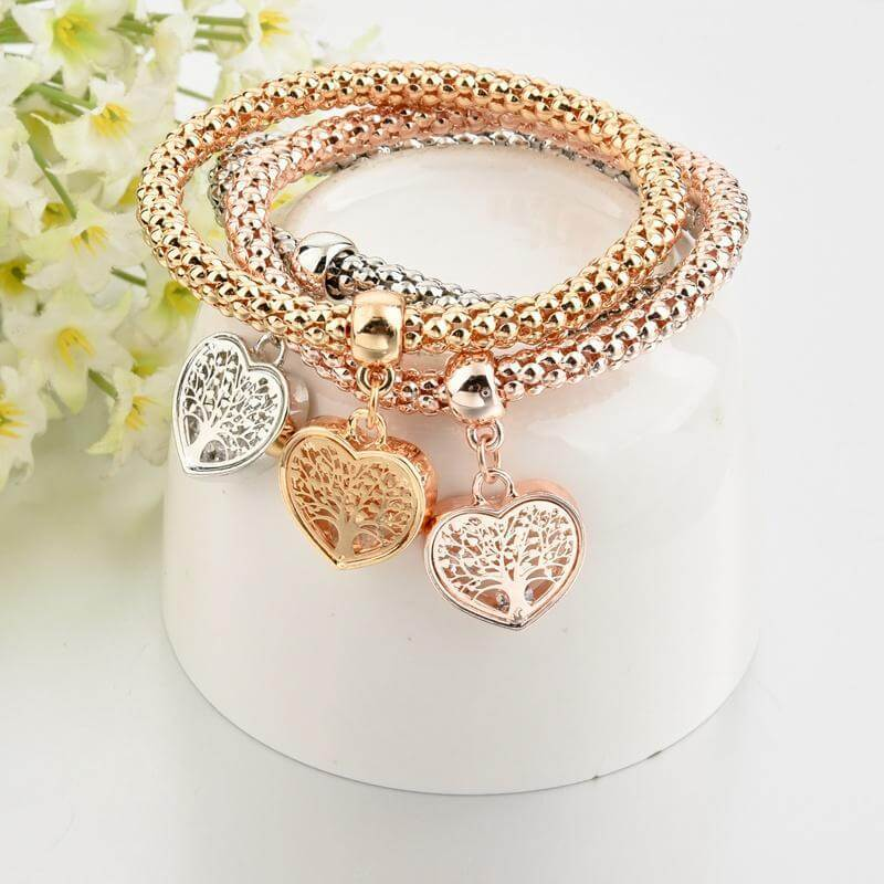 Tree of Life Heart & Solid Butterfly Charm Bracelets