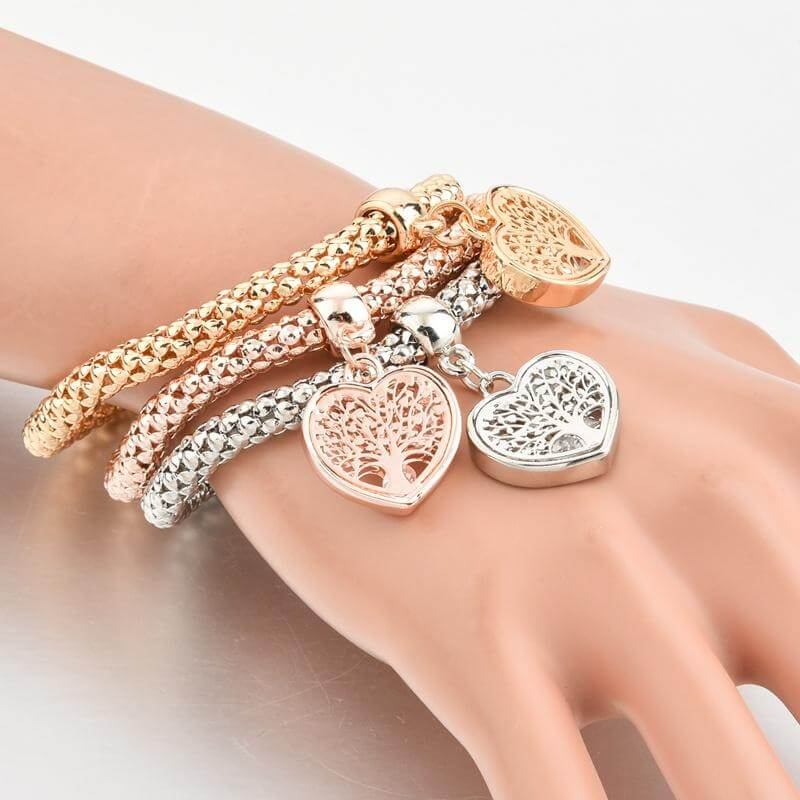 Tree of Life Heart Edition Charm Bracelet with Austrian Crystals
