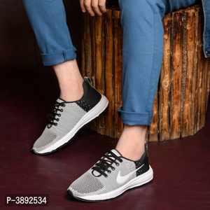 Grey Solid Sports Shoes for Men's