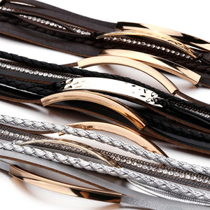 Metal & Leather Wrap Bracelet