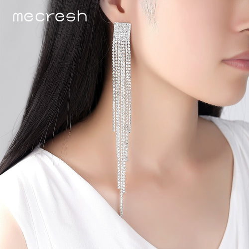 Long Crystal Rhinestone Dangle Earrings