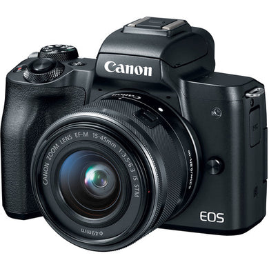 Canon EOS M50 Mirrorless Digital Camera with 15-45mm Lens (Black or White)