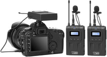 Load image into Gallery viewer, Vidpro XM-WTTR Dual Channel UHF Wireless Lavalier Microphone Set with 2 Transmitter Body-Packs and 1 Receiver Unit