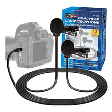 Load image into Gallery viewer, XM-DLC Dual-Head Lavalier Microphone for Cameras and Camcorders