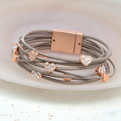 POM Taupe Leather Rose Gold Crystal Hearts Bracelet - JEWELLERY