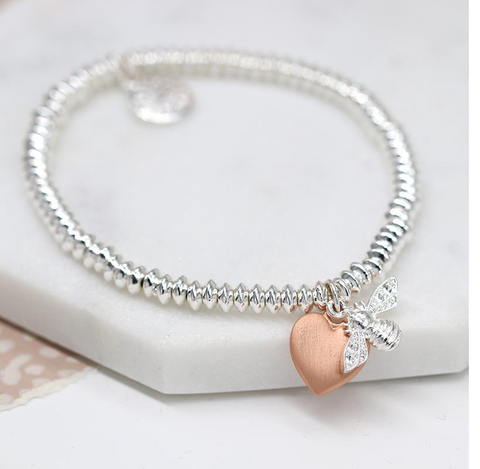 Silver Plated Oval Bead Bracelet with Silver Plated Bumblebee and Heart