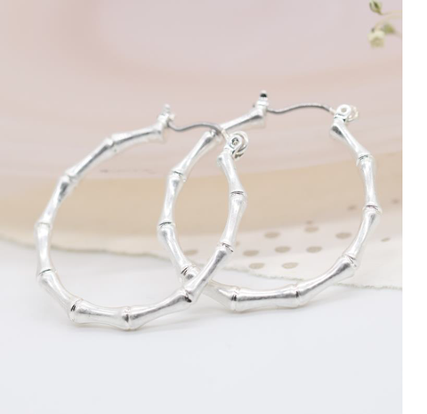 Silver Plated Bamboo Style Hoops