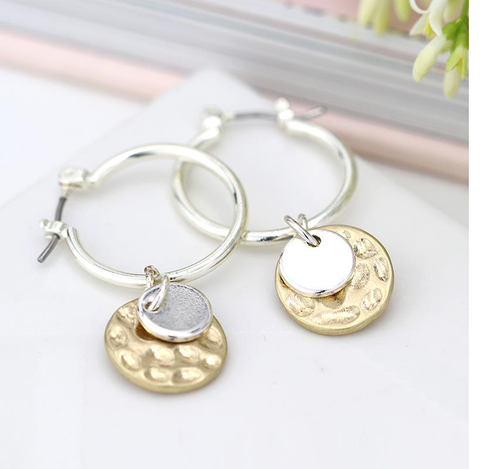 Hoops with Hammered Gold Disc and Plain Silver Circle