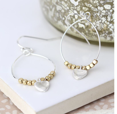 Hoop Wire Earrings with Square Gold Beads and Heart