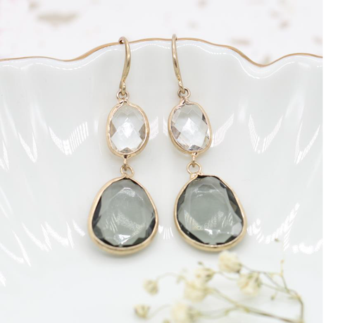 Worn Gold Clear and Smokey Crystal Earrings