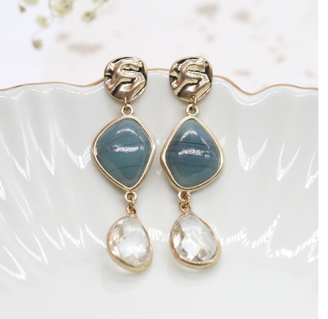 Textured Disc Stone and Crystal Drop Earrings