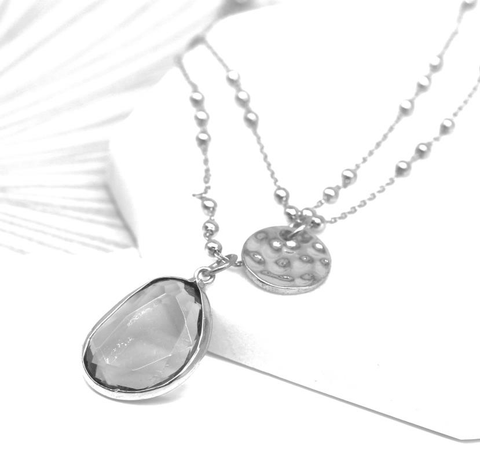 Silver Double Chain Necklace with Hammered Circle and Clear Stone