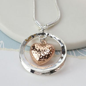 POM Rose gold plated heart in silver plated circle necklace - JWR