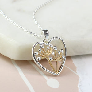 Silver/Matt Gold Dandelion in Heart Necklace