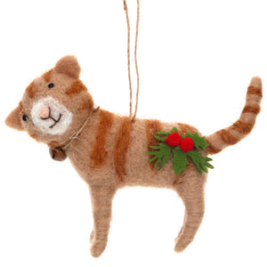 Gisela Graham Mixed Wool Cat with Holly Bell Decoration XMAS