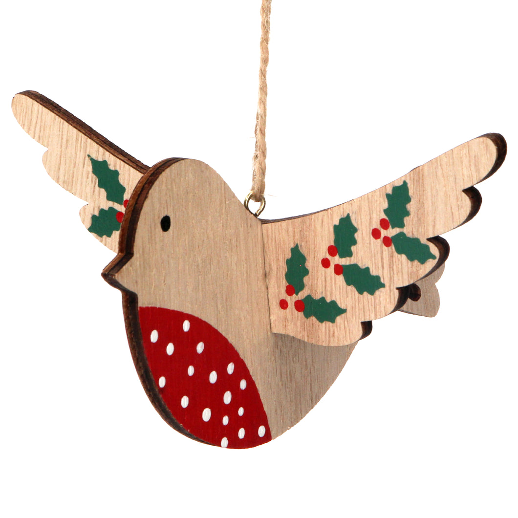 Gisela Graham Flying Wood Robin with Holly Decoration XMAS